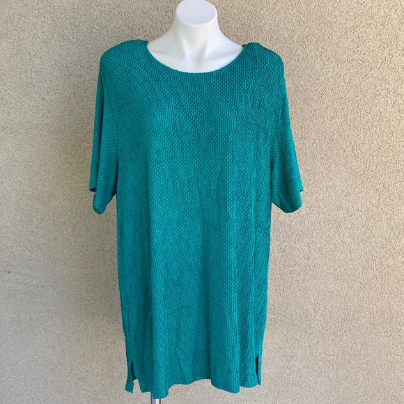 Vintage Sharade Of California Turquoise 80s Blouse